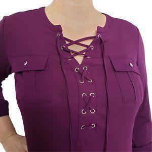 NYGARD Lace Up Long Sleeve Purple Top L (IMO)